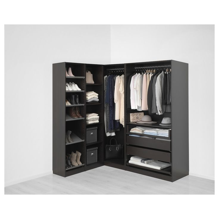 pax add on corner unit with 4 shelves black brown 20 7 8x13 3