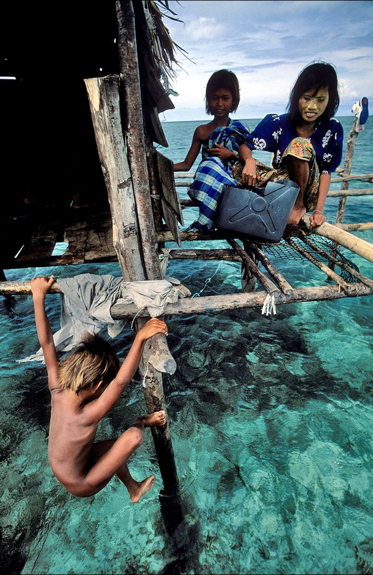 Bajau people is Sea Gypsy people, they love around between Indonesia - Malaysia - Phillipines. They have no nationality which cause a problem between the three nations. This photo is taken in Sulawesi. Indonesia.