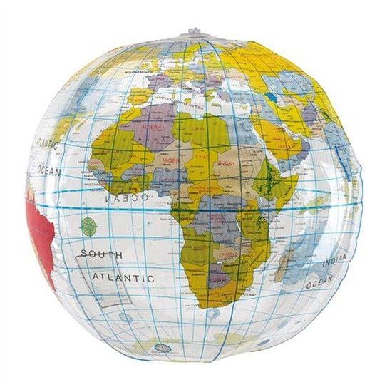 Strandbal globe/wereldbol opblaasbaar