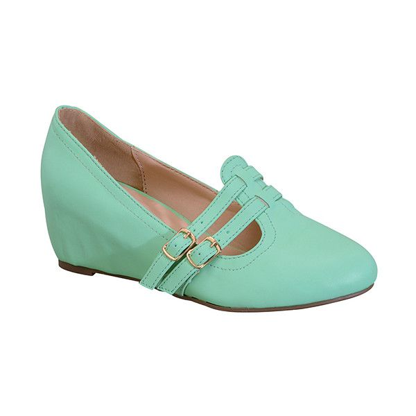 Chase & Chloe Mint Bobby Pump ($17) ❤ liked on Polyvore featuring shoes, pumps, mint pumps, mid heel platform pumps, platform pumps, mint shoes and mint green shoes