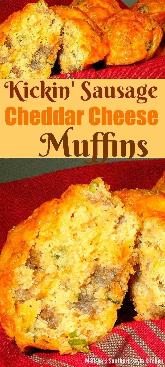Kickin Sausage And Cheddar Cheese Muffins