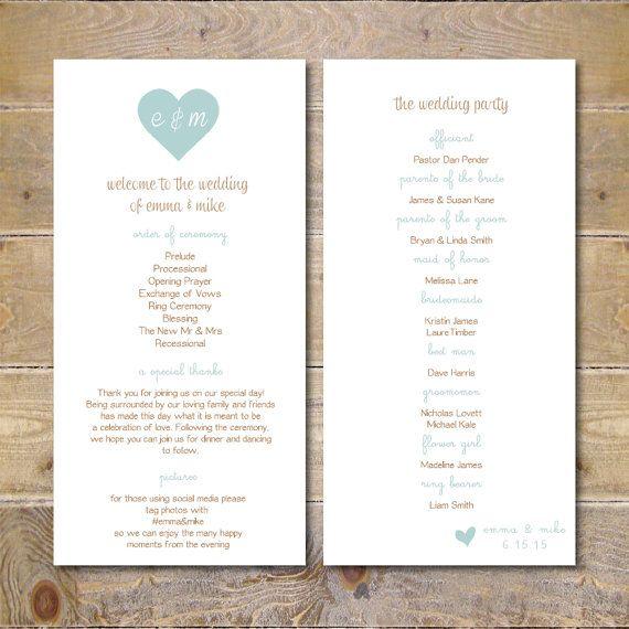Wedding Programs Printable Wedding Program by SweetBellaStationery