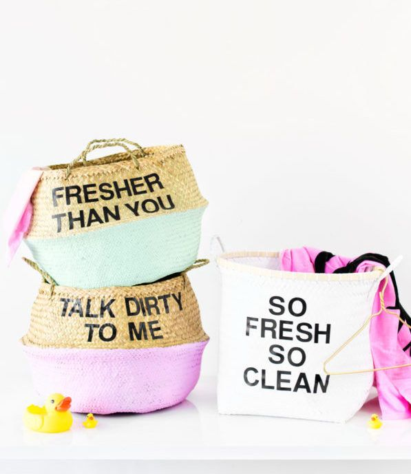 """Use 2"""" letter stickers to paste your favorite funny laundry quote on your laundry hamper."""