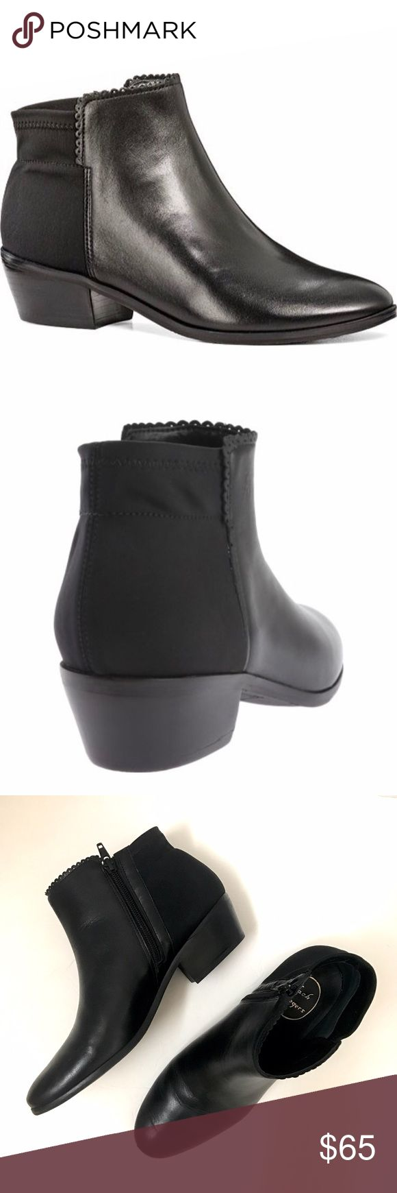 Jack Rodgers Bailee ankle boots Black leather Jack Rogers ankle boots with subtle scalloped edge. Stretchy back panel and zip sides for the perfect fit. Heel height: 1 1/2 inch. Only worn once and in great condition. One small scuff on the front of the left boot. Jack Rogers Shoes Ankle Boots & Booties