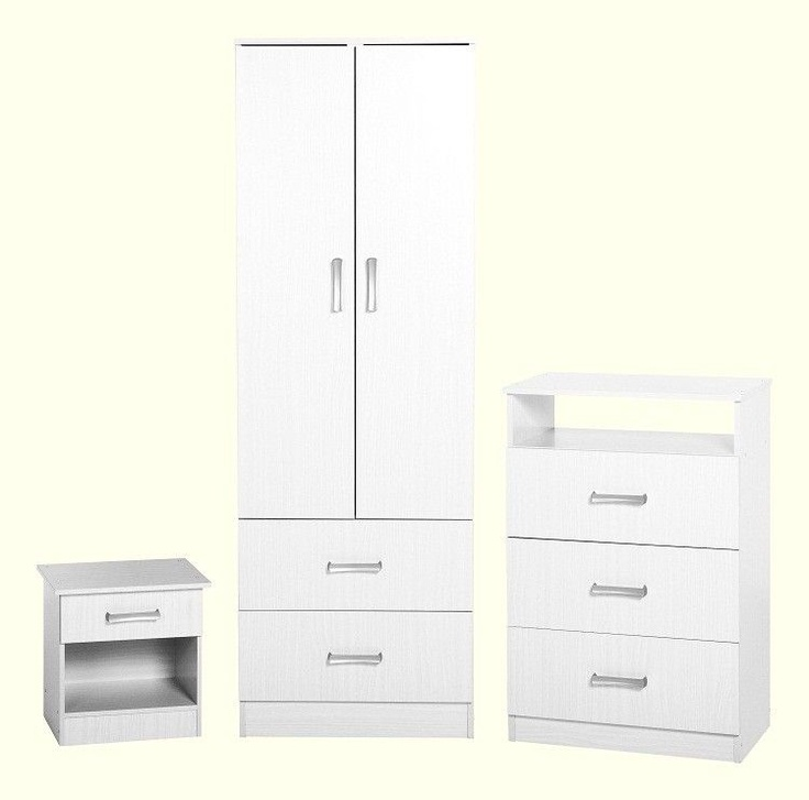 Polar Bedroom Set Including Combi Wardrobe Chest Of Drawers And Bedside Table In White
