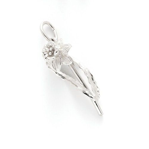 Daffodil Charm In Sterling Silver, Charms for Bracelets and Necklaces