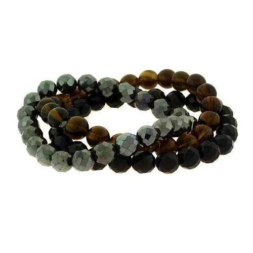 Bling Jewelry Set of 3 Stackable Hematite Onyx Smokey Quartz Stretch Bracelet 8mm Bling Jewelry. $15.75. Stretch bracelets set of 3. Stackable style. Total weight is 60 grams. 8mm Gemstone beads. Elastic nylon band. Save 52% Off!