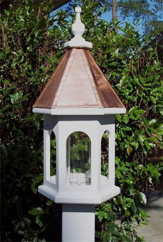 Handcrafted copper top bird feeder Due to shipping problems, I do not include the vinyl post needed to install. The post are available at all home improvement stores. It is 4X4X72 vinyl post sleeve. Once the post is set in ground, the bird feeder simply mounts on top(no hardware needed) Dimensions are 24 inches high and 11 inches wide All materials used on this product are rated for outdoor use. Occassionaly it will need a fresh coat of paint. Price: $125.00