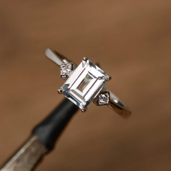 white topaz ring white gold plated sterling silver ring emerald cut topaz gemstone ring promise ring for her