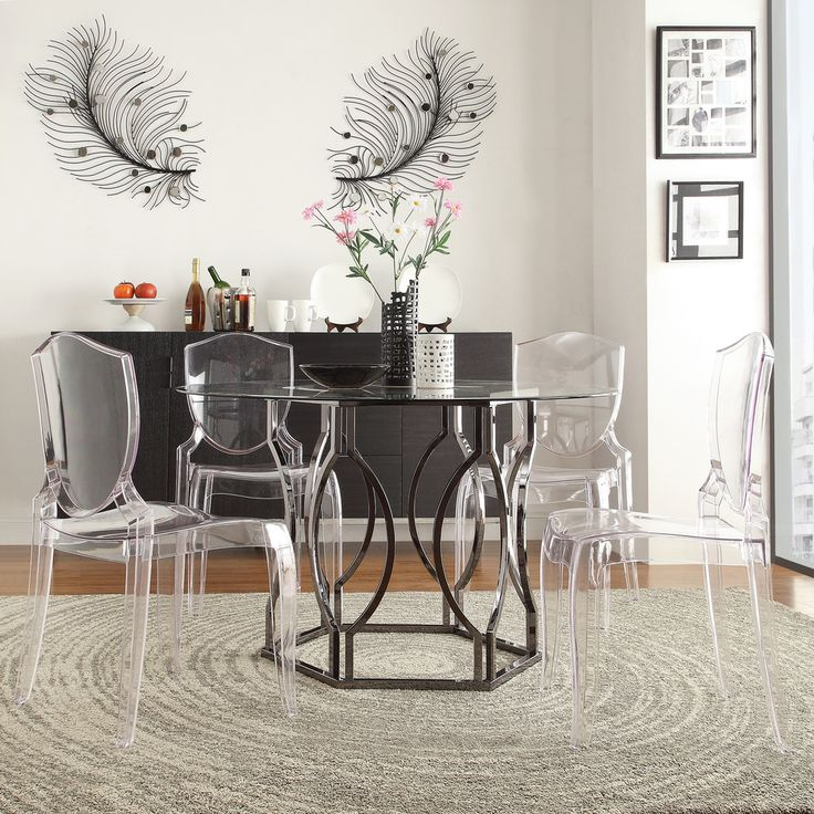 Inspire q concord black nickel plated round glass dining for Dining table set deals