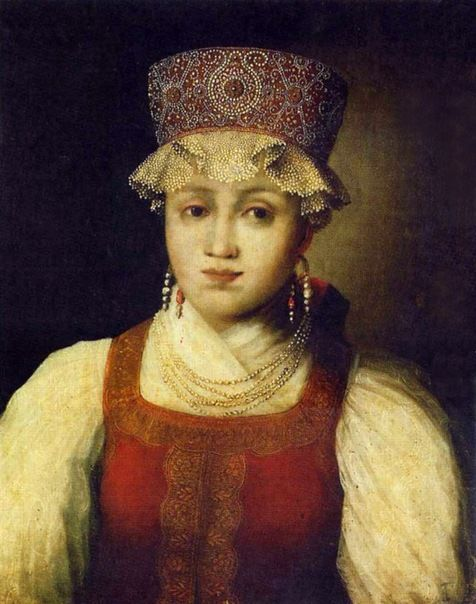unknown artist. Russian maiden in traditional costume. 1840s