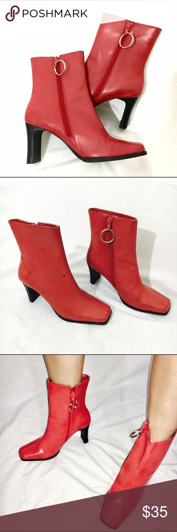 Red Boots 🍒🔥 Vintage 90s red boots with o ring zipper, like new condition , offers welcome Shoes Ankle Boots & Booties