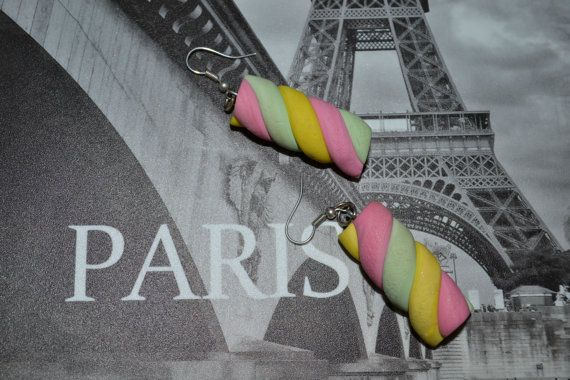 Marshmallow Rainbow Colored Twists earrings,polymer clay marshmallows earrings