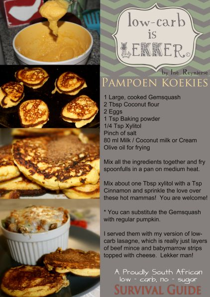 Low Carb Recipe 123 Pampoenkoekies