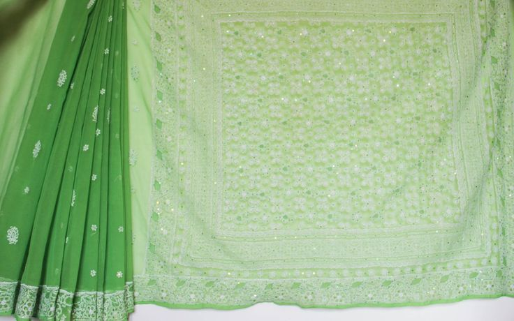 Lucknowi Lime Green and White Semi Georgette Saree