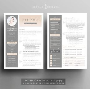 Resume Template and Cover Letter References von TheResumeBoutique
