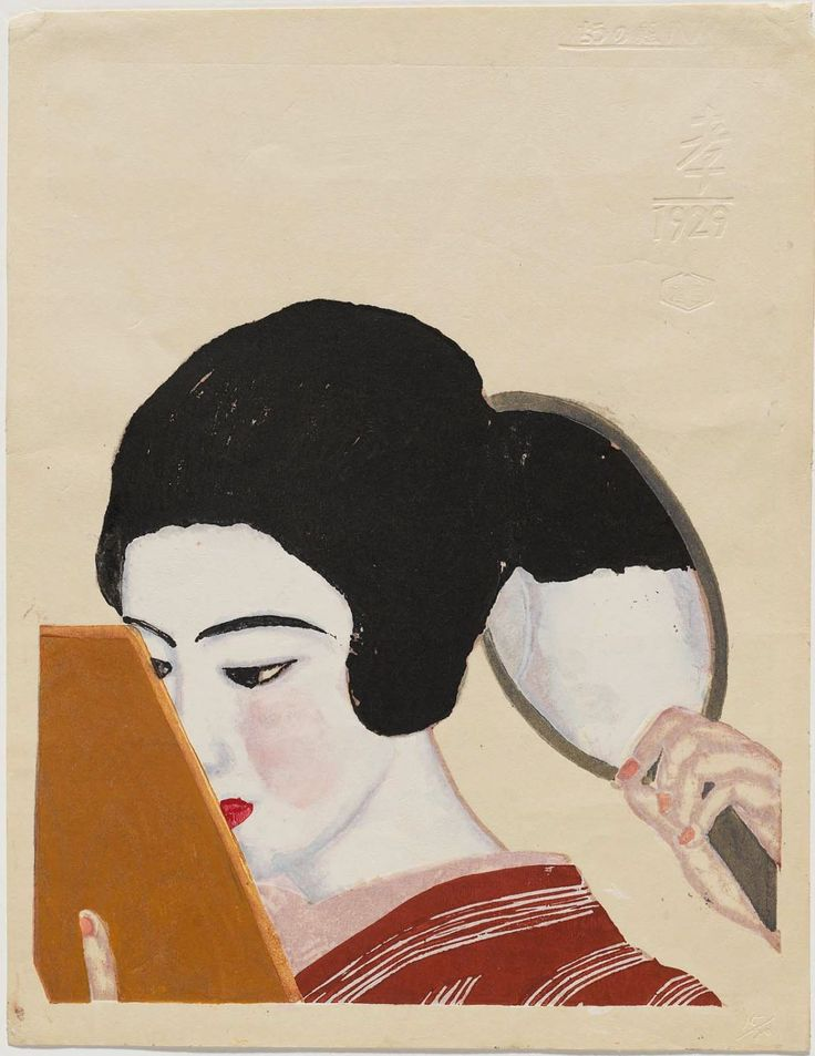 Girl with mirrors, 1929, 恩地孝四郎 / Onchi Koshiro. Japanese Printmaker (1891 - 1955)