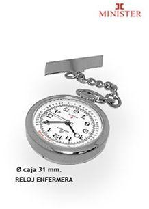 Relojes de enfermera. Reloj Minister de enfermera con movimiento de cuarzo, caja en acerocon alfiler para colgar
