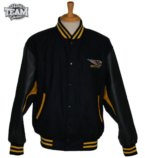 West Coast Eagles AFL wool body and leather sleeves embroidered varsity jacket front by Team Varsity Jackets. www.facebook.com/TeamVarsityJackets  www.teamvarsityjackets.com.au