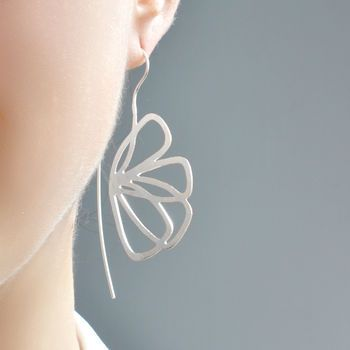 Sterling Silver Abstract Butterfly Earrings