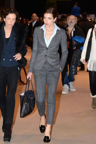 Charlotte Casiraghi, blazer, pants, and shoes fit (maybe get more pointed shoes). like the short pants