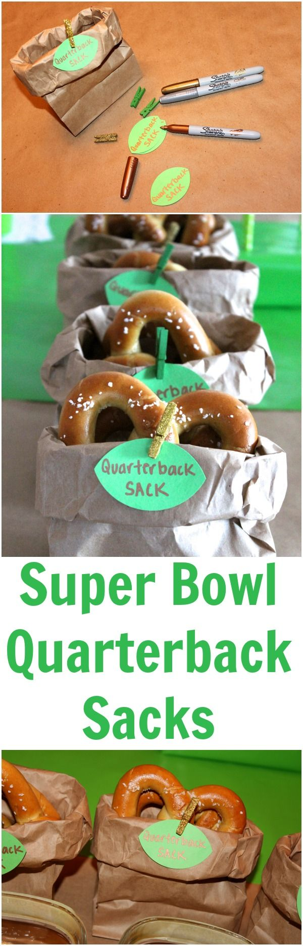 DIY Quarterback Sacks - fill with your snack of choice! www.weheartparties.com