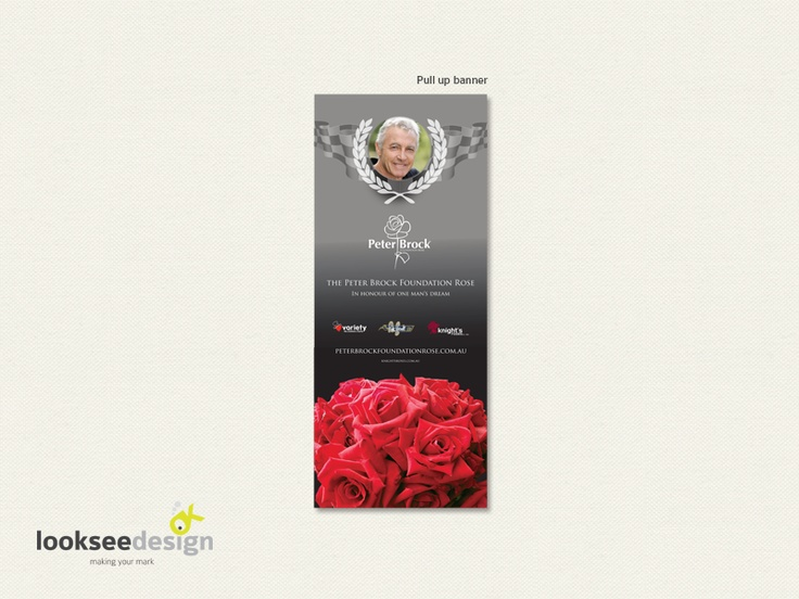 Knight's Roses Peter Brock Foundation Rose Banner - Designed by Looksee Design