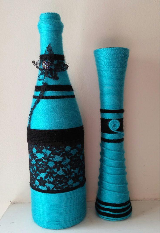 17 best ideas about yarn bottles on pinterest bottles for How to make flower vases out of wine bottles