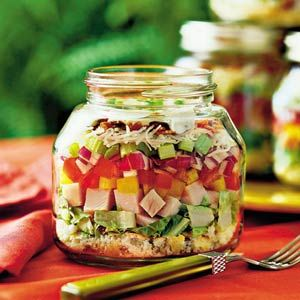 Layered Cornbread-and-Turkey Salad | MyRecipes.com  As far as I am concerned, this is a meal in a jar or easy take along lunch or for a picnic.: Layered Salad, Idea, Recipe, In A Jar, Food, Mason Jars, Salads, Turkey Salad