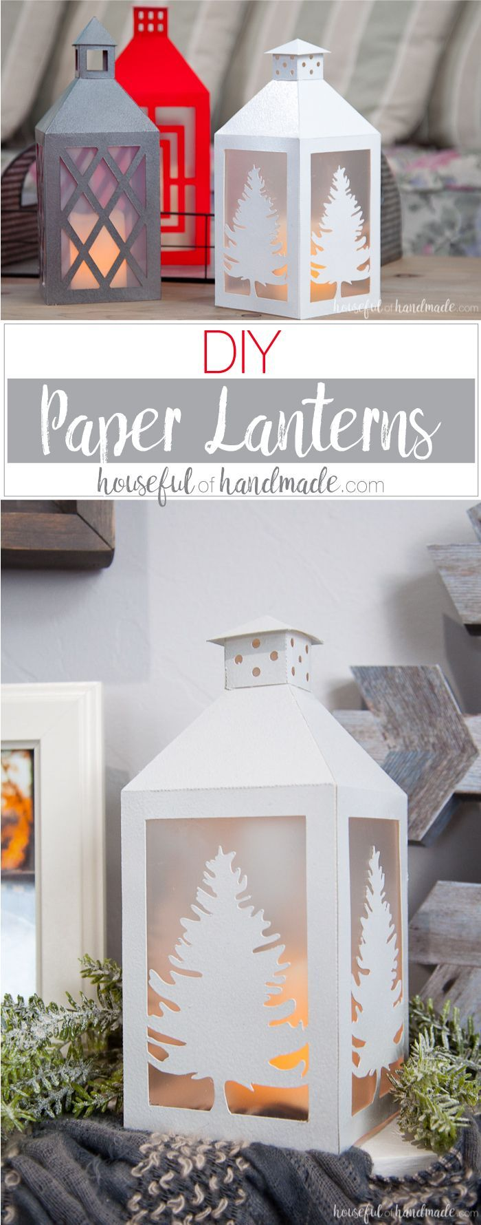 Decorate your farmhouse on a budget with these popular DIY paper lanterns. They are easy to make and you can make them match any home decor.    How to Make DIY Paper Lanterns Decor   Paper crafts   Silhouette Cameo craft   DIY Home Decor   Budget Home Dec