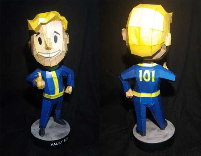 Fallout 3 - Bobblehead - Agility Vault Boy Ver.3 Free Papercraft Download - http://www.papercraftsquare.com/fallout-3-bobblehead-agility-vault-boy-ver-3-free-papercraft-download.html#BobbleheadAgility, #Fallout, #VaultBoy