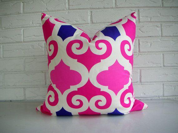 Pink Moroccan Throw Pillow - Decorative Pillow Cover - Fuchsia Purple White - Modern Decor via Etsy