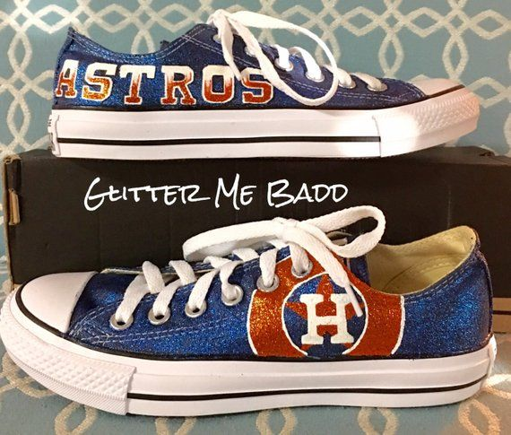 Custom hand painted Houston Astros converse for women