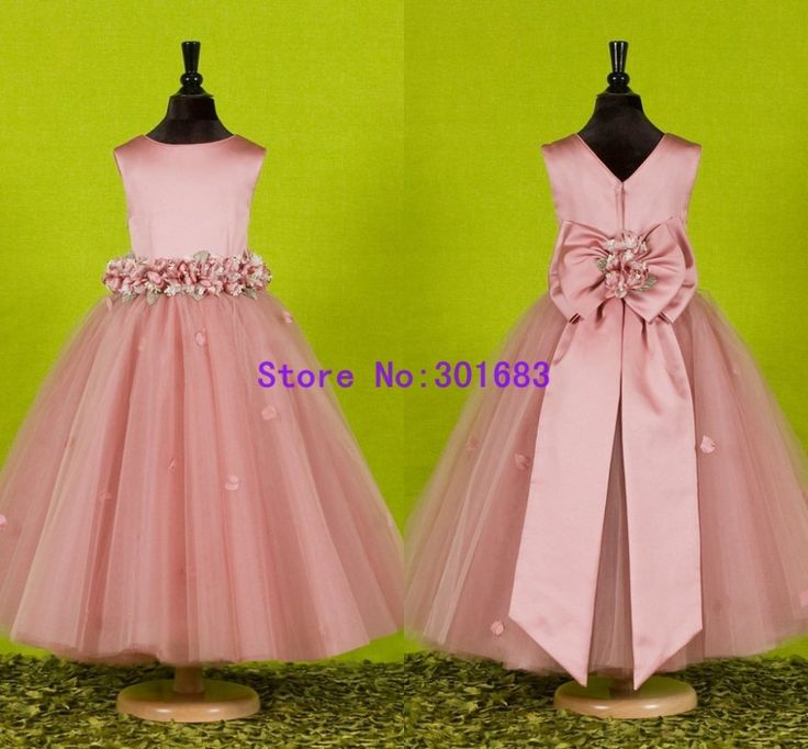 G031 Free Shipping 2013 Bow Stylish Deaded Ball Gown Pink Cute Flower Girl Dresses For Wedding US $78.00                                                                                                                                                      Más