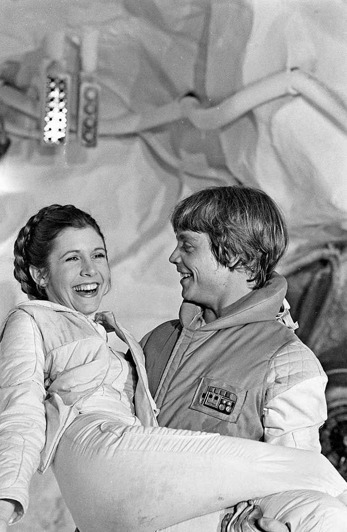 Carrie Fisher and Mark Hamill on the set of The Empire Strikes Back.
