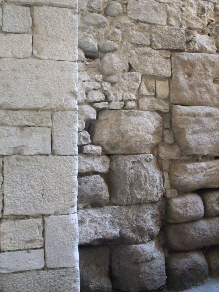 Stone wall in Gerona, Spain: Textures Patterns