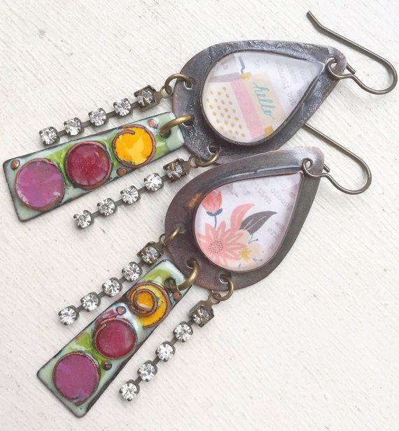 Purple pink yellow enamel resin earrings long by ButtonedUpBeads