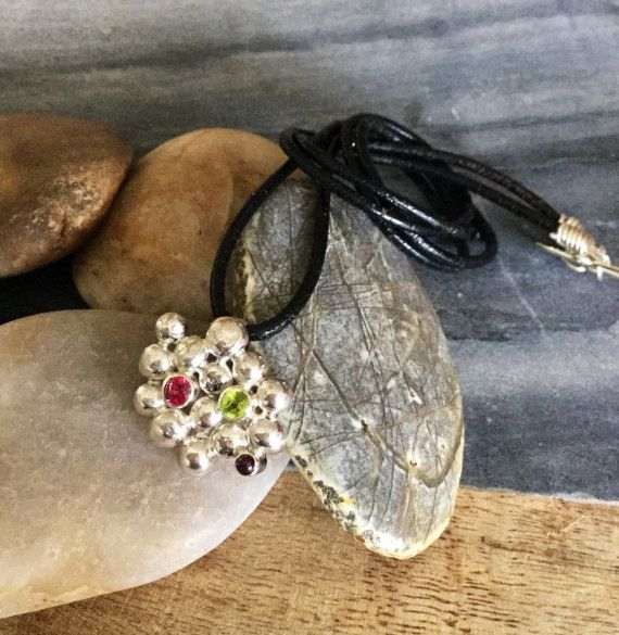 gorgeous Australian gift idea, necklace inspired by wattle seed with set gemstones and sterling silver. 20% of sale proceeds are donated to Make For Good on Etsy in 2016. wattleseed makeforgood pendant sterlingsilver by Marieannach