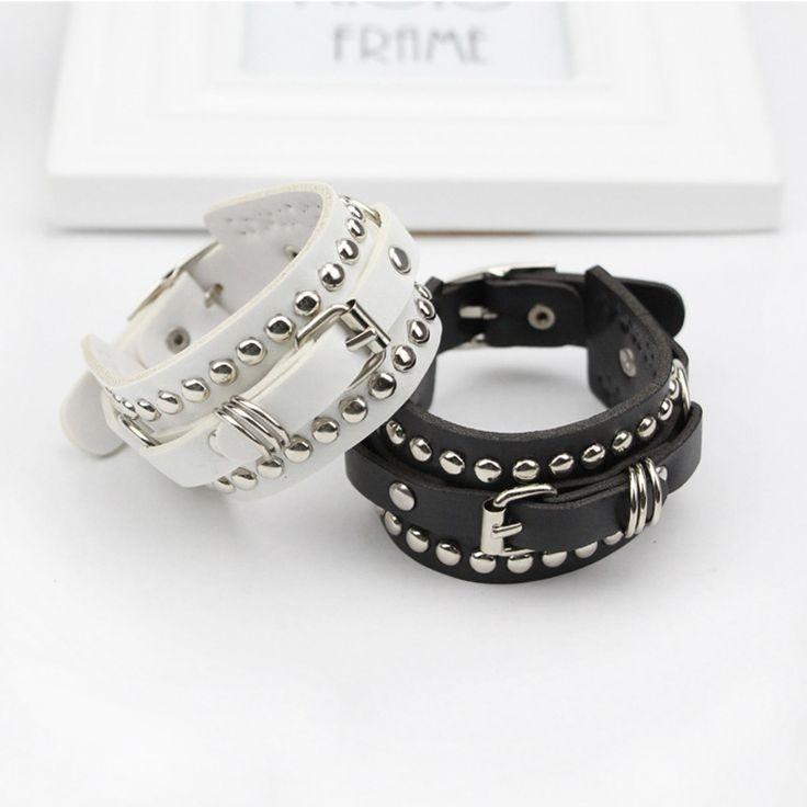 Unique Double Row Cuspidal Spikes Rivet Stud Wide Cuff Leather Punk Gothic Rock Unisex Bangle Bracelet men jewelry #Affiliate