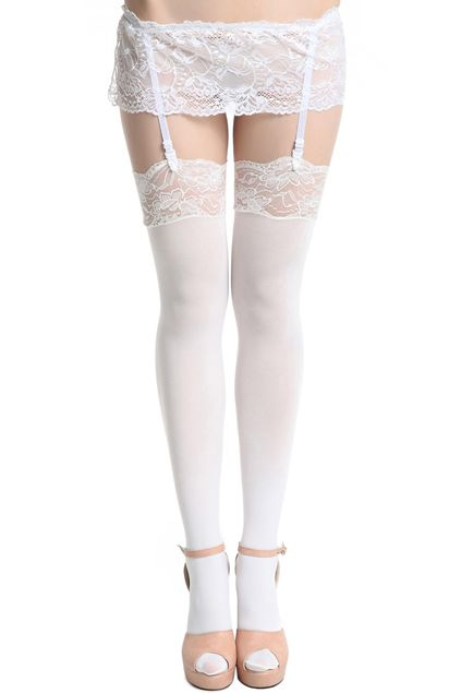 Pure White Suspender Tights #Romwe ☮ Romwe Leggings! | tights | fashion | apparel | want | need | repin | clothes | love | ☮