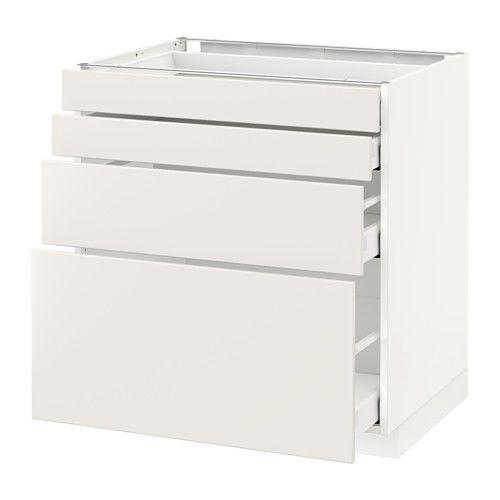 METOD / MAXIMERA Élt bas 4 faces/4 tiroirs - blanc, 80x60 cm, Veddinge blanc - IKEA