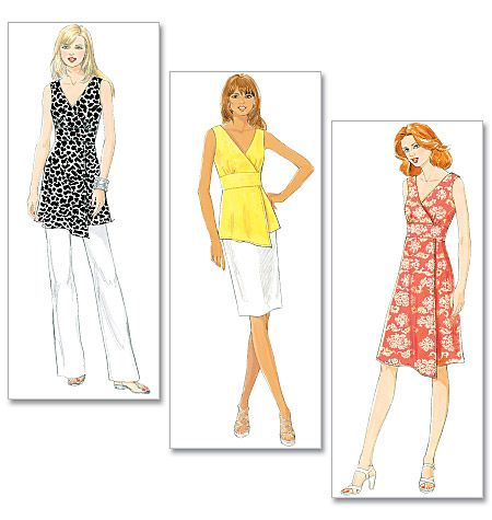 Butterick B5485 Misses' Top, Tunic and Dress.   FABRICS: Lightweight Linen, Stretch Poplin, Faille and Crepe. Unsuitable for obvious diagonals.