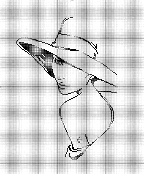 point de croix monochrome profil de femme au chapeau - cross stitch profile of a woman with a hat