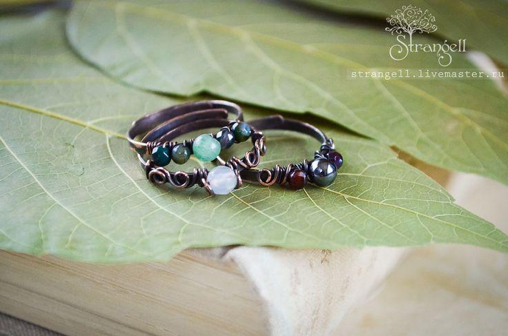 I'm on Etsy: https://www.etsy.com/shop/Strangell  Медные кольца с нефритом, агатом, гематитом, горным хрусталем - зеленый, болотный, оливковый, хаки