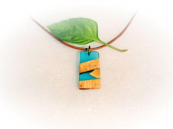 Olive Wood Resin Pendant Modern Necklace Blue Jewelry by MavouShop