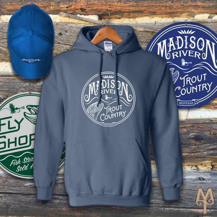 Two necessities that you'll need when fly fishing the Madison River in Montana: a hoodie sweatshirt and a baseball cap. Shop Montana Treasures fly fishing apparel, today!