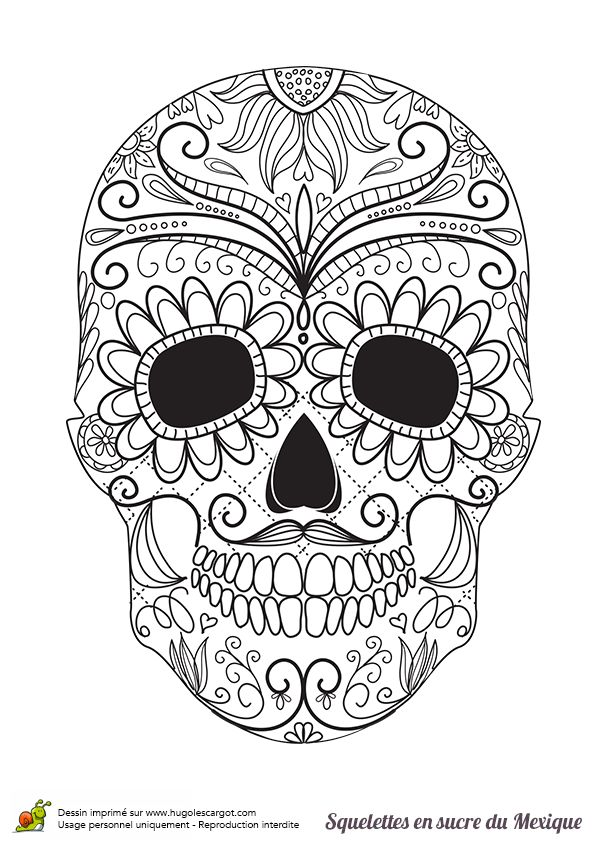 Coloriage Adulte Tete De Mort Mexicaine