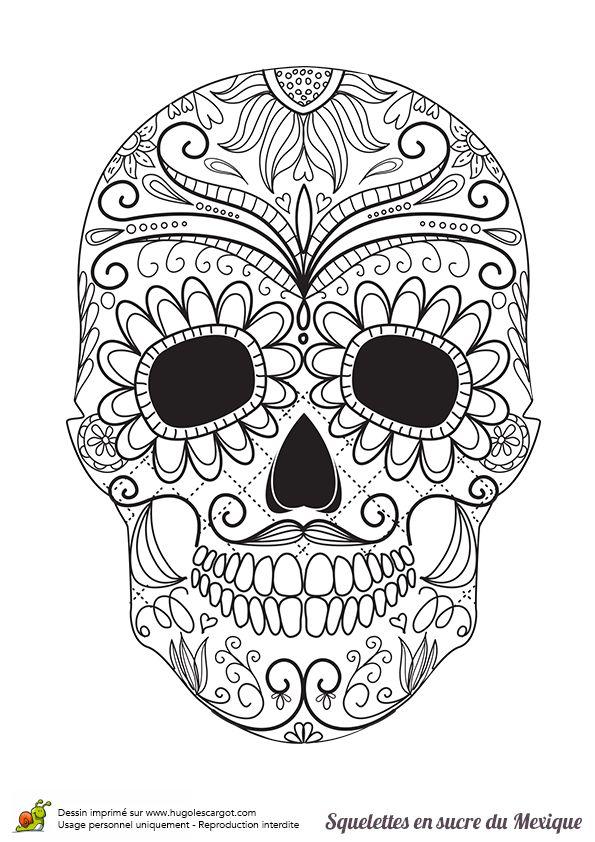 Coloriage Squelette Sucre Moustache Et Fleurs Sur Hugolescargotcom