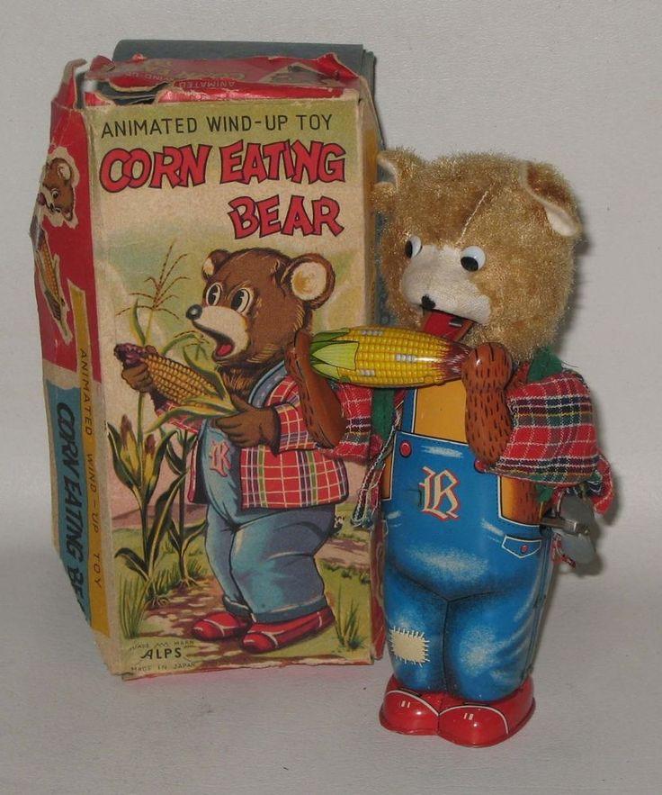 Vintage Alps Tin Litho Wind Up Corn Eating Bear IOB Japan PT23