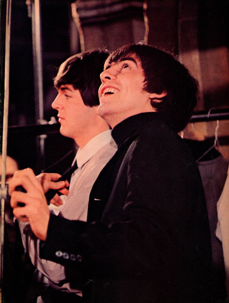 1964 - Paul McCartney and George Harrison in A Hard Day's Night film (backstage photo).